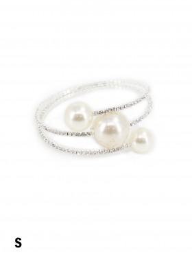Multi Wrap Rhinestone & Pearl Stretch Bracelet