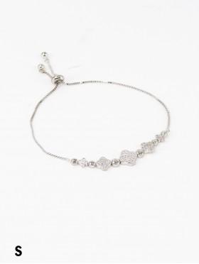 Adjustable Rhinestone Stretch Bracelet W/ Clover
