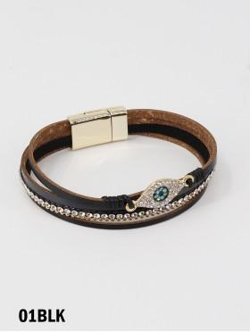 Rhinestone Wrap Magnetic Bracelet w Evil Eye