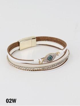 Rhinestone Wrap Magnetic Bracelet W/ Evil Eye