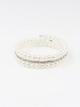 Rhinestone & Pearl Multi-Wrap Stretch Bracelet