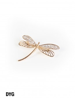 Dragonfly Brooch With Rhinestone and Hollow-out Design