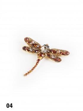 Multi Rhinestone Dragonfly Brooch