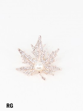 Maple Leaf Brooch With Rhinestone and Pearl