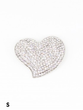 Heart Shaped Rhinestone Brooch