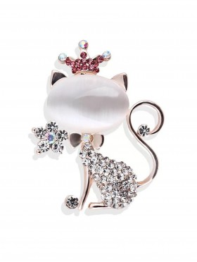 Rhinestone Cat W/ Crown Brooch