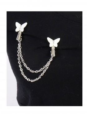 Elegant White Butterfly Clip On Brooches
