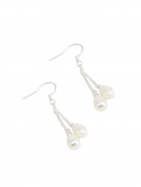 Evening Drop Double Pearls Earring