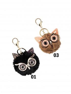 Owl Keychain W/ Fur Ball