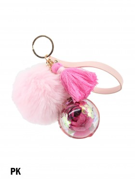 Plush Ball Key Chain with Kunming Preserved Forever Rose Flowers