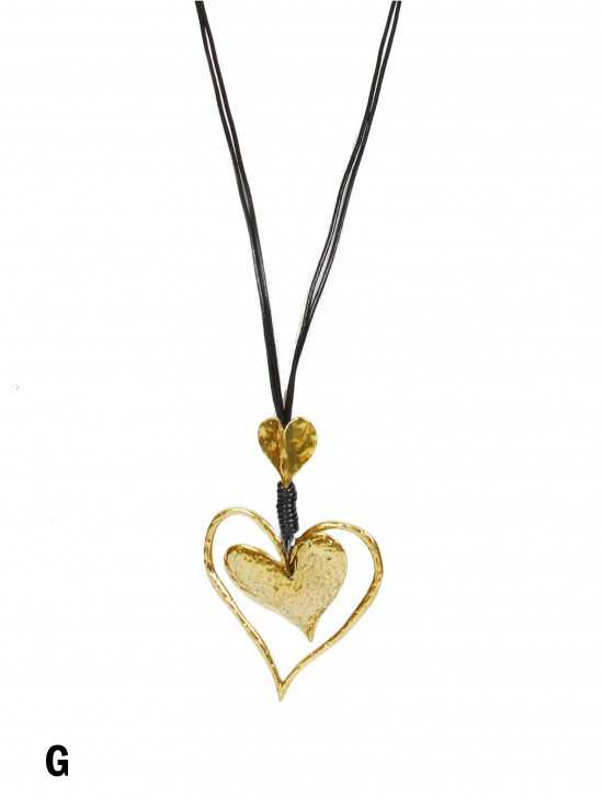 Rope Necklace W/ Double Heart & Knots Pendant