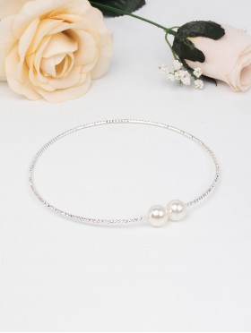 Rhinestone Necklace W/ Pearl