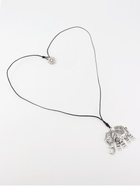 Rope Necklace W/ Elephant Pendant