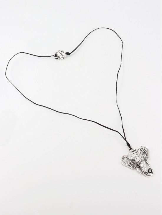 Rope Necklace W/ Elephant Head Pendant