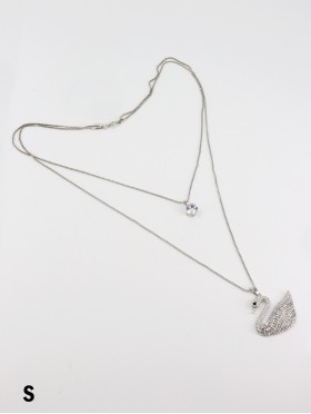 Rhinestone Double Layer Necklaces W/ Swan