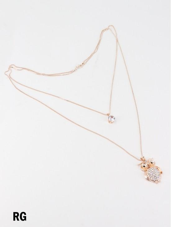 Rhinestone Double Layer Necklaces W/ Owl