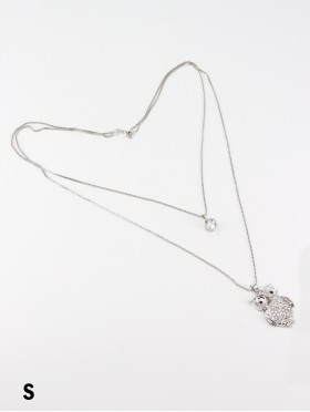 Rhinestone Double Layer Necklaces W/ Owl