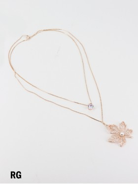 Rhinestone Double Layer Necklaces W/ Maple leaf & Pearl