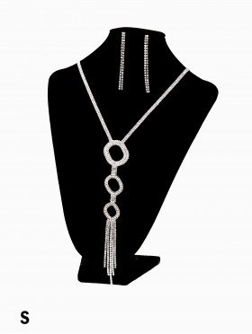 Rhinestone Tassels Fashion Necklace & Earring Set