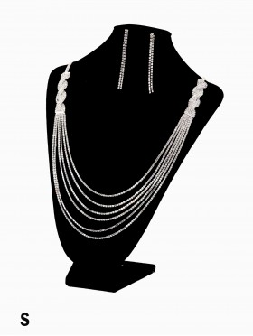 Multi Rhinestone Tassels Fashion Necklace & Earring Set