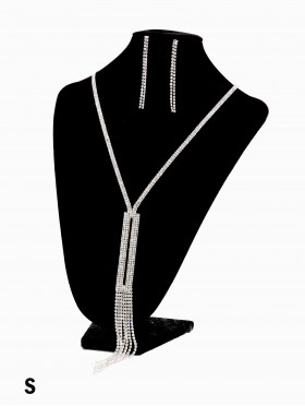Rhinestone Tassels Fashion Necklace & Earring Set