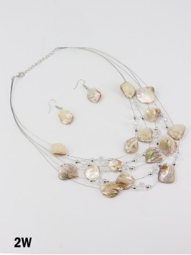 Fashion Holographic Beads Necklace and Earrings Set