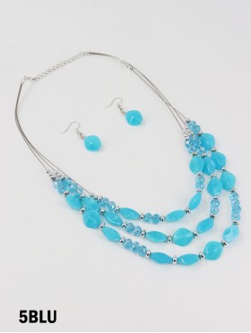 Fashion Diamond Beads Necklace and Earrings Set