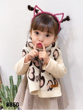 Kid's Heart Patterned Scarf