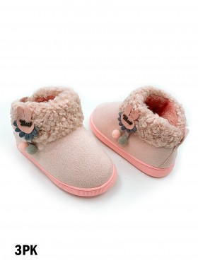 Kids Faux Suede Fur Top Winter Booties (Plush Inside)