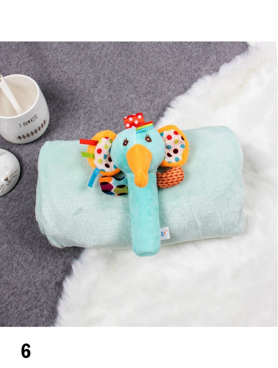 Kids' Embroidered Microfiber Soft Flannel Blanket W/ Matching Toy