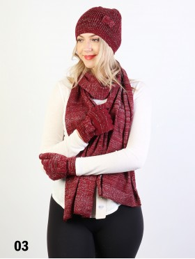Fashion Bow-tie Knitted Set W/ (Scarf, Hat, Gloves)