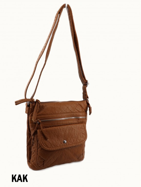 Solid Faux Leather Front Pocket Satchel