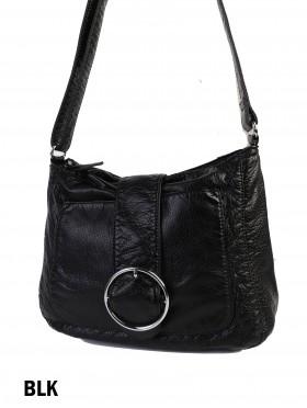 Solid Faux Leather Satchel W/ Circle Belt