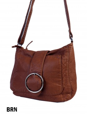 Solid Faux Leather Satchel W/ Circle Belt