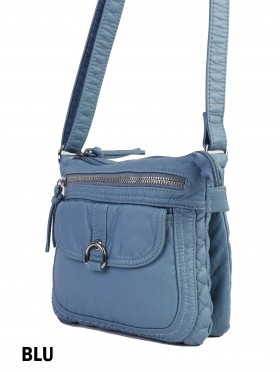 Solid Faux Leather Satchel W/ Multi Pocket