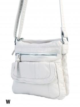 Solid Faux Leather Satchel W/ Multi Pocket