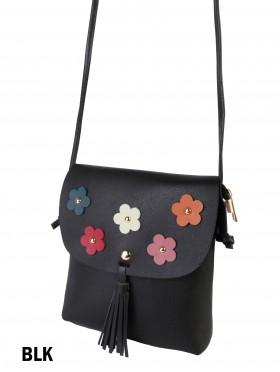 Flower Faux Leather Crossbody Bag With Tassels