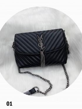 Premium Faux Leather Crossbody Bag W/ Chain