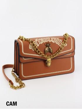 Elegant Faux Leather Crossbody Bag W/ Chain