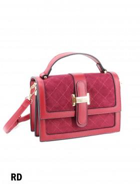 Elegant Faux Leather & Velvet Crossbody Bag