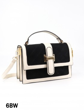 Elegant Faux Leather & Velvet Crossbody Bag
