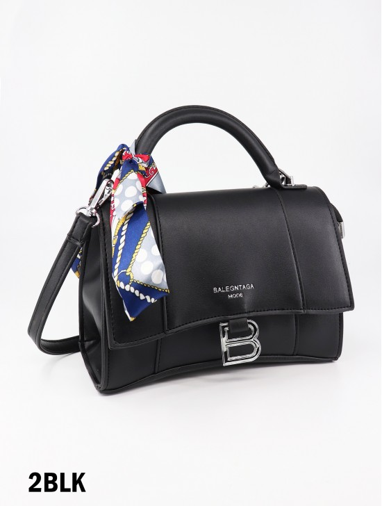 Faux Leather Satchel Bag W/ Ribbon