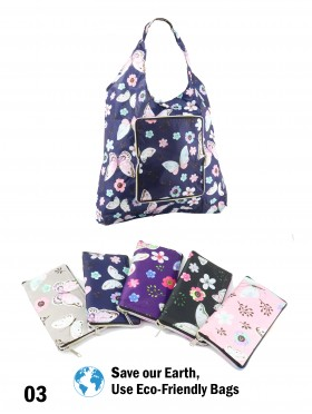 Reusable Foldable Shopping Bags W/ Zipper(12 pcs)