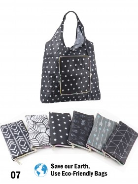 Geometric Pattern Reusable Foldable Shopping Bags W/ Zipper(12 pcs)