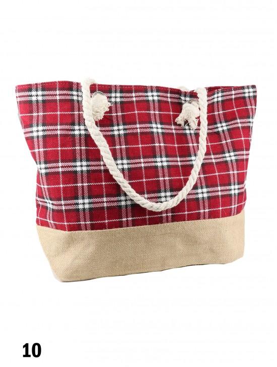 Canvas Plaid Shoulder Tote