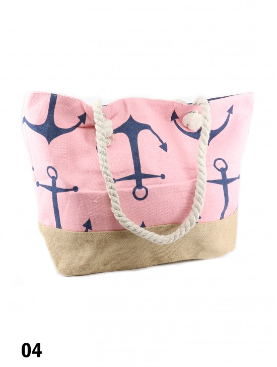 Canvas Anchor Print Shoulder Tote