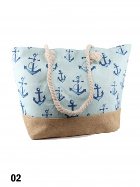 Canvas Little Anchor Shoulder Tote