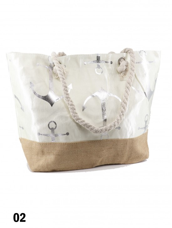 Anchor Foil Print Shoulder Tote