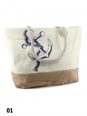 Anchor Print Shoulder Tote