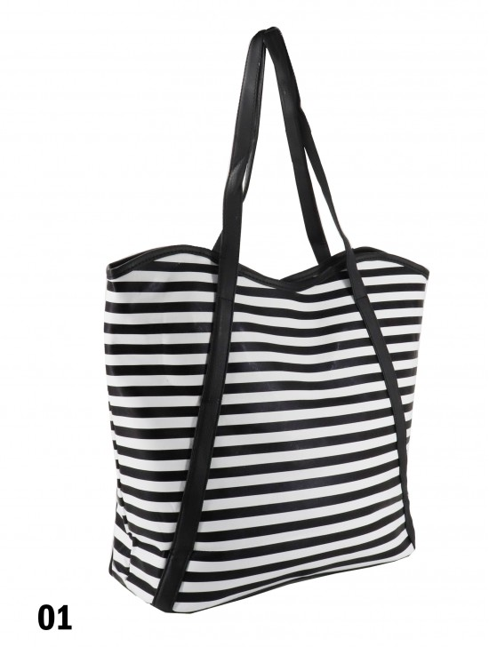 Striped Print Tote Bag With Faux Leather Accents